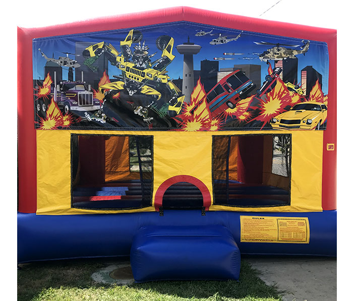 15'x15' bounce house with a basketball hoop inside