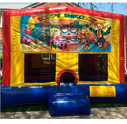 This bounce house is available in 15'x15' or 13'x13' and both have a basketball hoop inside.