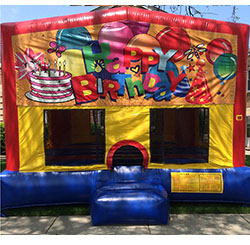 This bounce house is 15'x15' and has basketball hoop inside.